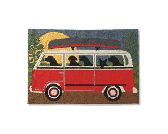 """Grandin Road - Camping Trip Weekender Area Rug - 27"""" x 72"""" - Area rug with a whimsical, dogs-in-camper design. Hand-hooked, looped construction. Crafted from durable UV-resistant polyacrylic fibers. Cleaning is easy: vacuum, or simply take outside and rinse with the hose. One look at our Camping Trip Weekender Area Rug and you just can't help but smile. Oh what fun: five joyfully adventurous pooches have left their humans behind and are headed for a weekend of canoeing and mischief out in the woods. Rich red, yellow, green, blue, and brown tones make it a bright touch anywhere you place it.  .  .  .  . Imported."""