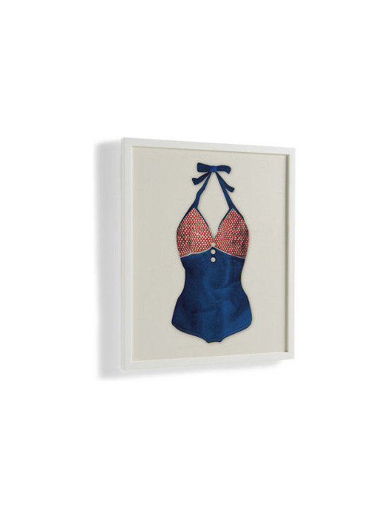 Grandin Road - Red Dots Vintage Bathing Suit Wall Art - Framed indoor artwork inspired by a real vintage woman's bathing suit. Whimsical statement piece made from high quality printing on canvas. Textural and dimensional surface that mimics the look and feel of actual fabric. Canvas stretched over a wood frame. Wooden frame with a slightly distressed white finish. Inspired by retro bathing suits, our framed, jaunty work of art-Red Dots Vintage Bathing Suit-will stop visitors with a smile. This one-piece suit sports a dark blue torso with red polka dots in the bust and navy straps that tie into a bow.  with a slightly distressed white finish. Surface has a texture that mimics the look and feel of actual fabric. Arrives ready to hang indoors with wire cording.  .  .  .  .  . Arrives ready to hang with wire cording . Made in the USA.