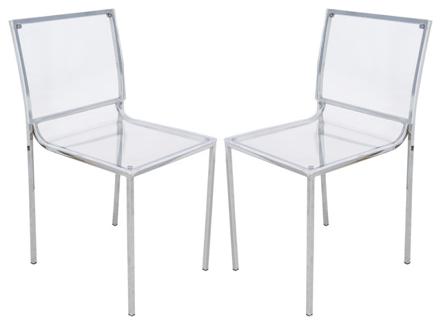 Leisuremod Almeda Acrylic Clear Transparent Dining Chairs Set Of 2 Contemp