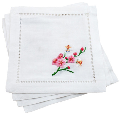 Irish Linen Hemstitched Cocktail Napkins with Plum Blossoms and Bees asian-napkins