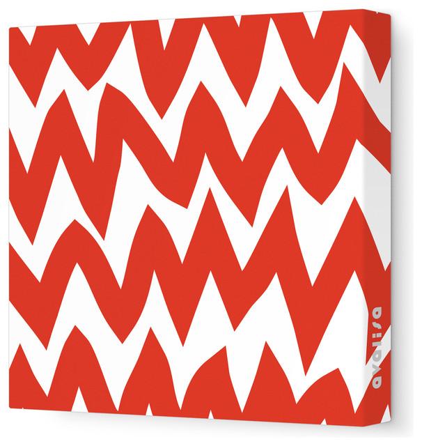 "Pattern - Zig Zag Stretched Wall Art, 28"" x 28"", Red modern-kids-decor"