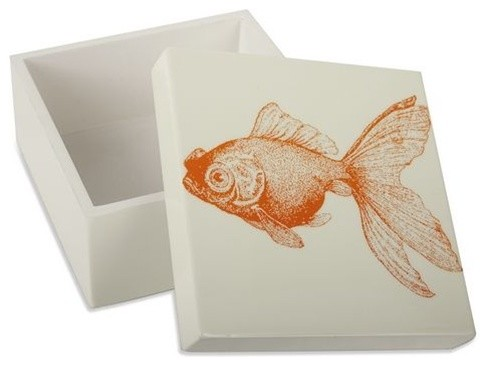 Goldfish Alabaster Lacquer Box by Thomas Paul eclectic bath and spa accessories