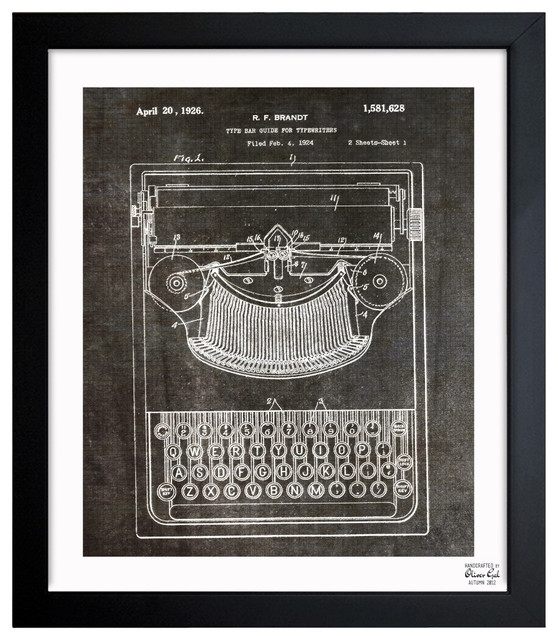 """""""Brandt Type Bak Guide for Typewriters 1926"""" Framed Art, 15"""" x 18"""" contemporary-prints-and-posters"""