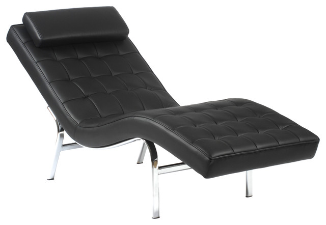 Valencia solo lounge chair black leather chrome modern for Black outdoor chaise lounge