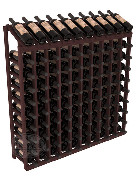 Wine Racks America - 100 Bottle Display Top Wine Rack in Redwood, Walnut Stain - Make your top 10 vintages focal points of your cellar or store. Our wine cellar kits are constructed to industry-leading standards. You'll be satisfied. We guarantee it. Display top wine racks offer ample storage below a presentation row. Great as a stand alone unit or paired with other modular racks from our product lineup.