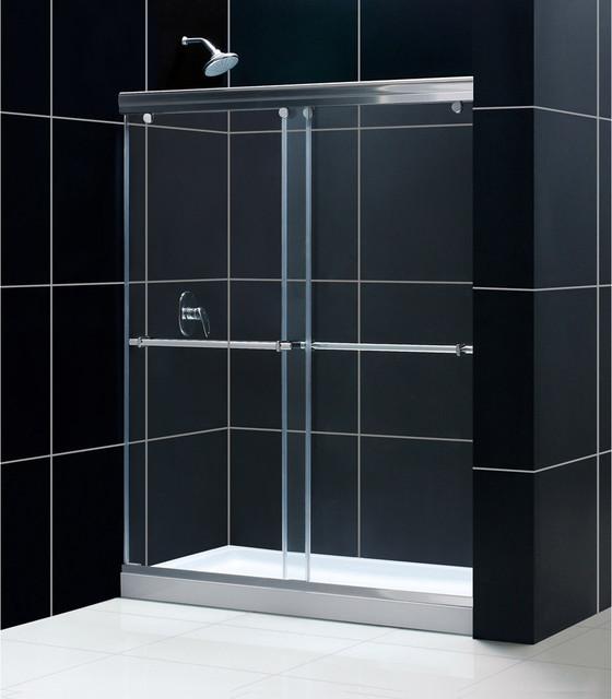 Charisma Frameless Bypass Sliding Shower Door & SlimLine Single Threshold Shower modern-showers