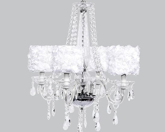 Belle & June - White Rose 4 Light Middleton Chandelier - This strikingly elegant 4 light Middleton chandelier features white rose garden drum shades and hanging crystals throughout. We can't think of anything more charming than hanging this in a little girl's bedroom or nursery.