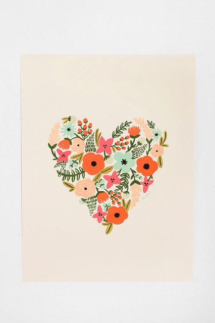 Floral Heart Print contemporary-artwork