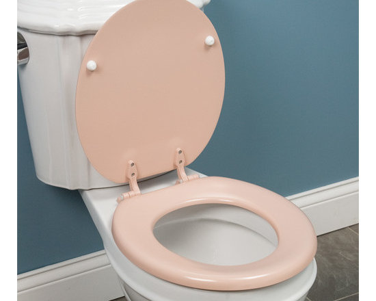 Color - This molded wood toilet seat features a charming pink finish that will ensure durability for years to come. Matching adjustable hinges allow for easy installation on standard round toilet bowls.--Signature Hardware