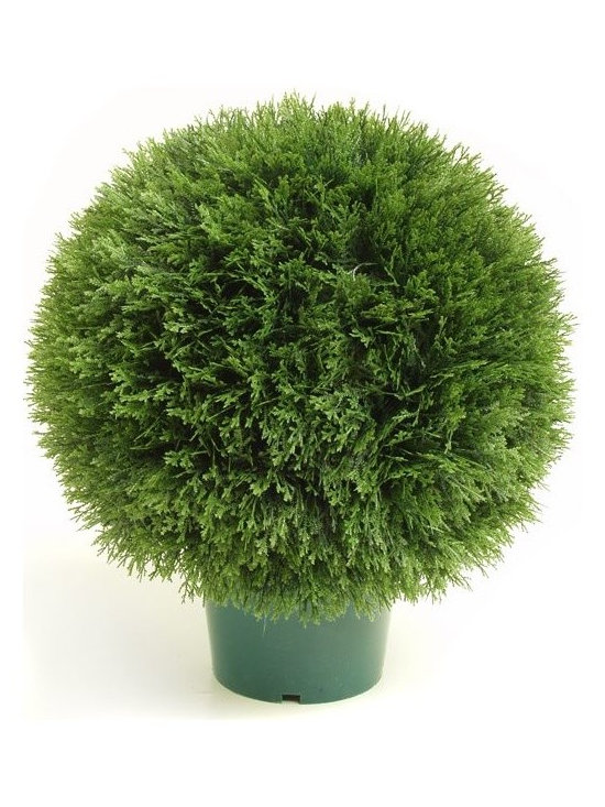 Artificial Outdoor Foliage - This round topiary artificial outdoor cedar pine tree is excellent for providing privacy in your outdoor room, around pools and patios and for creating realistic garden environments that do not require watering or maintenance.