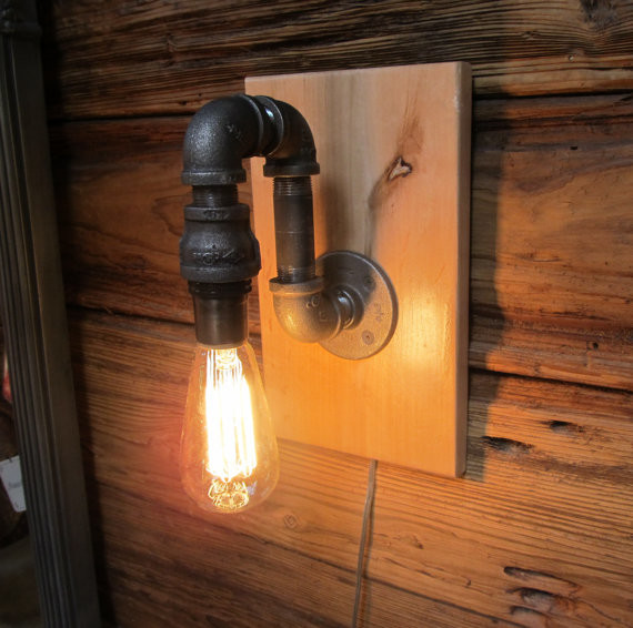 Industrial Pipe Wall Light: Black Pipe Wall Sconce With Edision Bulb