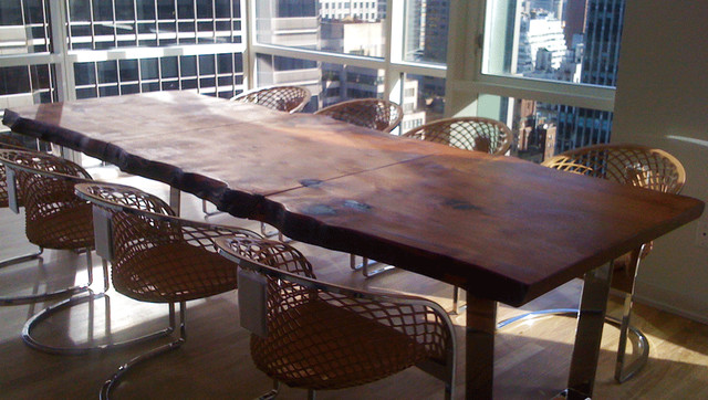 Custom made wood dining room table contemporary dining for Custom dining room tables