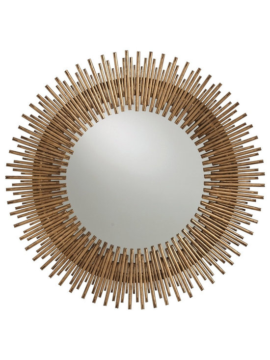 Arteriors Prescott Mirror - Individual iron rods are welded together and finished in antique gold leaf to create this fresh interpretation of the always popular starburst. Available as a round mirror or small oval mirror.