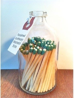 Reclaimed Apothecary Matchstick Bottle eclectic fireplace accessories