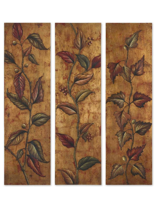 Climbing Vine Panels - Shop StudioLX for your Climbing Vine Panels  S/3 by Uttermost. This vibrant, earth tone artwork is hand painted on canvas that is stretched and mounted on hardboard frames.