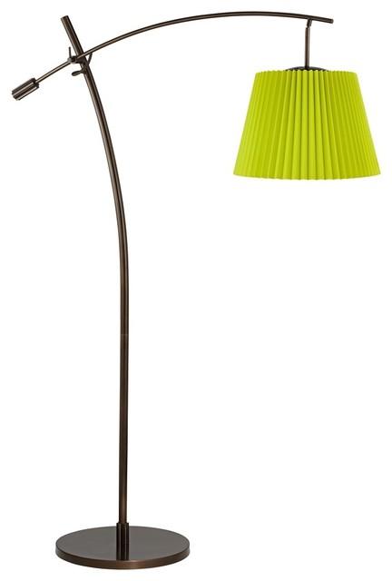 Contemporary tara lime green pleat shade balance arm arc for Arc floor lamp glass shade