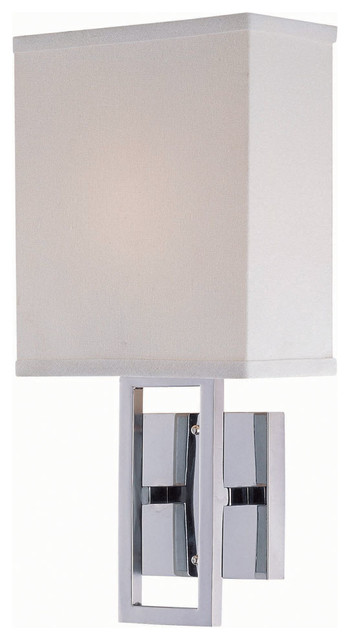 Wall Lamp, Chrome/White Fabric Shade, Type B 60W traditional-wall-sconces