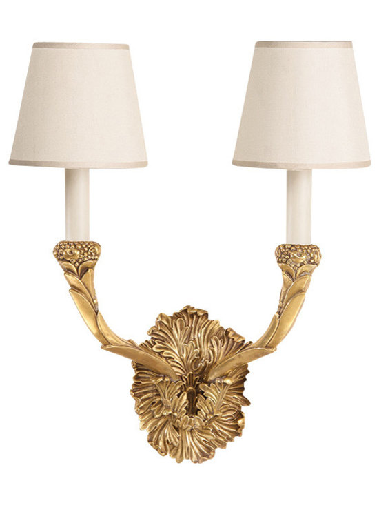 "Inviting Home - Cast Brass Sconce - Solid cast brass sconce in antique finish with round fabric shade; 13-3/4""W x 8-1/2""D x 17""H; Antiqued solid brass two-light electrified sconce. This sconce has antique finish and round hardback fabric shades. Wall sconce is designed for use with candelabra bulbs only. UL approved for indoor use - hardwire application."