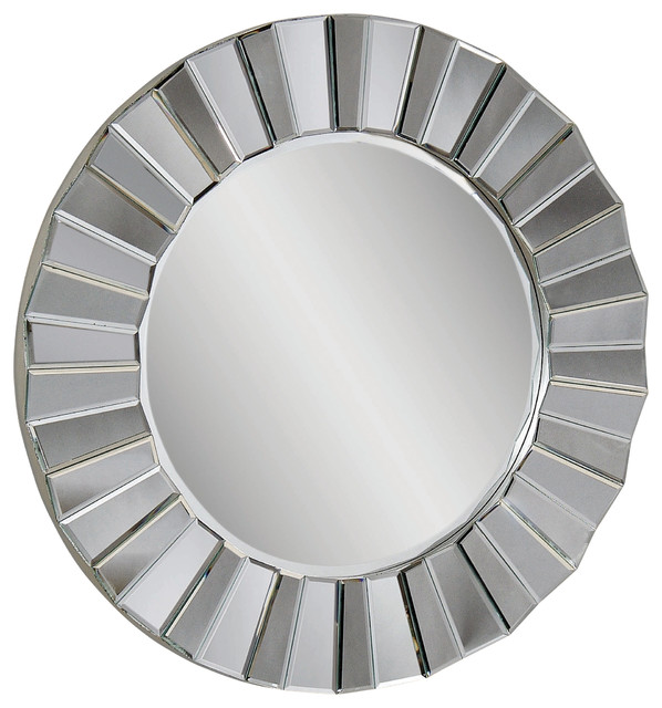 faceted round wall mirror contemporary mirrors by