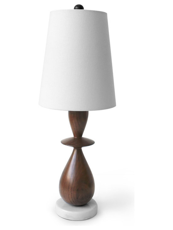 Robert Abbey - Jonathan Adler Buenos Aires Wood Table Lamp - Jonathan Adler's Buenos Aires Collection for Robert Abbey features a walnut table lamp with a natural jute shade.