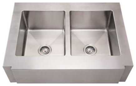 Whitehaus WHNCMAP3621EQ Stainless Steel 36'' Double Apron Kitchen Sink modern-kitchen-sinks