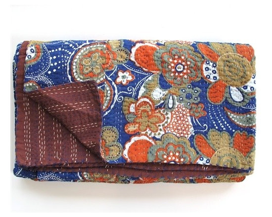 Retro Design Kantha Coverlets From India -