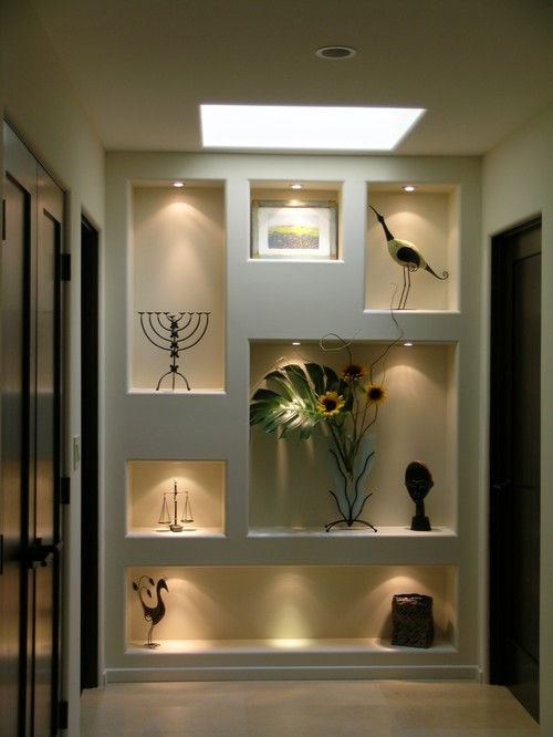 Very nice wall niche inspired me to build one what type of recessed lights and wires that can - Wall niches ...