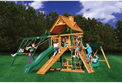 Gorilla Playsets Blue Ridge Frontier Wood Swing Set modern-outdoor-swingsets