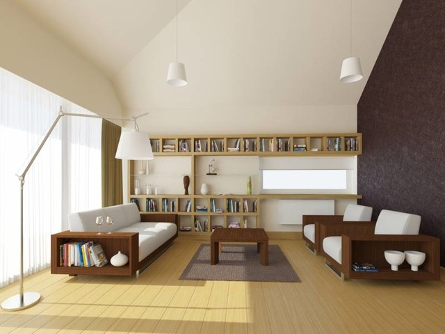 Interior Design of a Standard Cottage for Professors in the Cottage Area of Skol contemporary-living-room