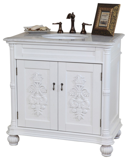 36 Inch Single Sink Vanity-White-White Marble modern-bathroom-vanities-and-sink-consoles