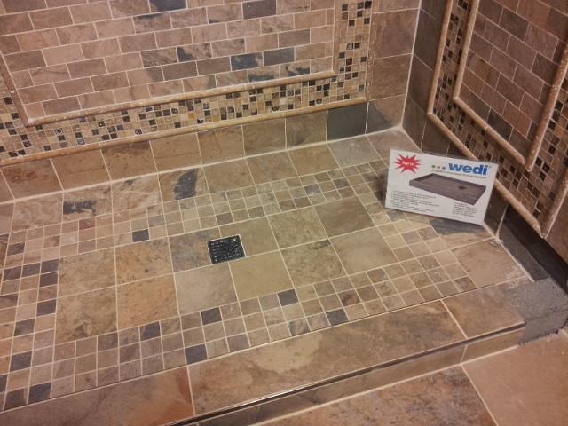 wedi ecobath shower pan shower display floor tiles