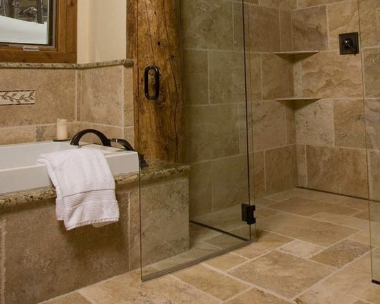 Continuous Floor Tile in Rustic Shower -