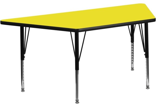 """24""""W x 48""""L Trapezoid Activity Table with Adjustable Pre-School Legs - Yellow contemporary-kids-tables-and-chairs"""