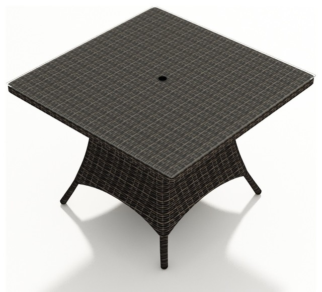 48 In Square Patio Dining Table Mocha Wicker Modern Outdoor Tables
