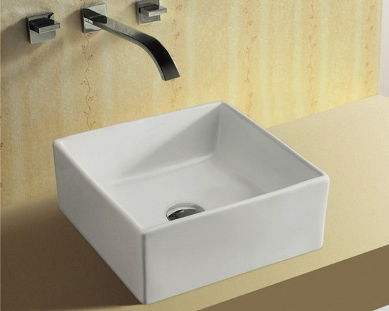 "Caracalla - Unique Square White Ceramic Vessel Bathroom Sink by Caracalla - This modern unique squared bathroom sink is made of white ceramic. Caracalla designed this bathroom in Italy. Above counter vessel sink has no faucet hole or overflow. Sink dimensions: 14.75"" (width), 5.95"" (height), 15.25"" (depth)"