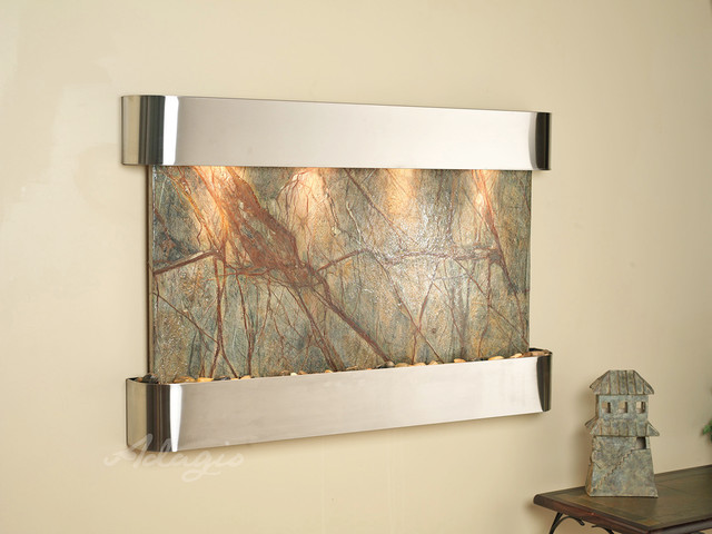 Marble Wall Water Features - The Sunrise Springs with Green Rainfores Marble contemporary-indoor-fountains