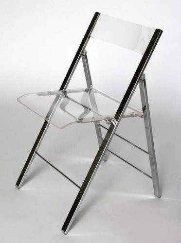 Clear Acrylic Folding chair with Chrome Base modern-folding-chairs-and-stools