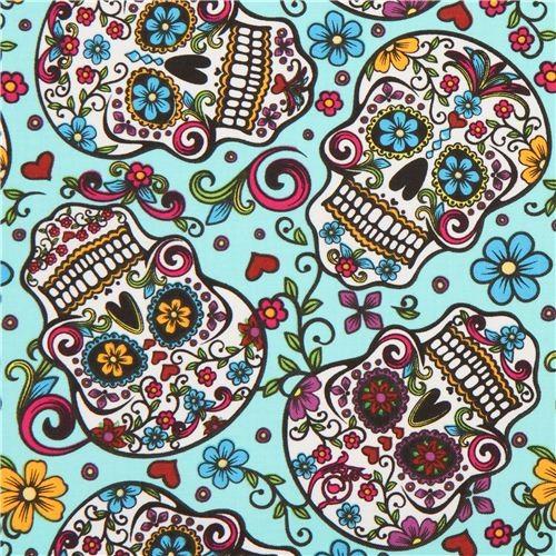 Turquoise Flower Skull Fabric Folkloric Skulls USA