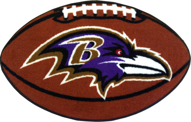 NFL Baltimore Ravens Football Shaped Rug - Contemporary - Game Room ...