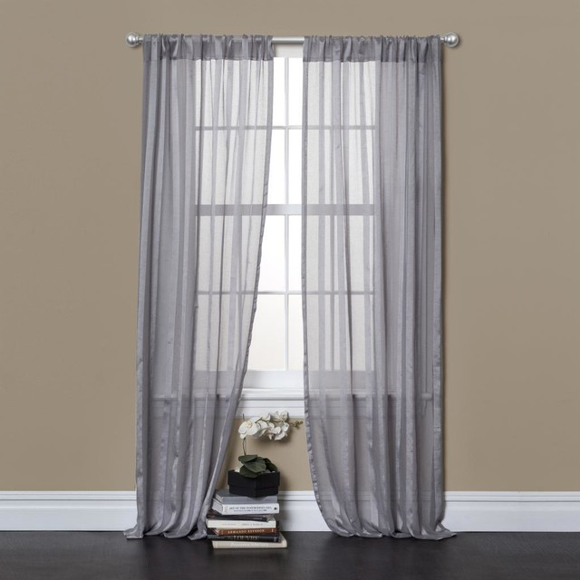 ... Rhythm Grey 84 inch Sheer Curtain Panel Pair contemporary-curtains