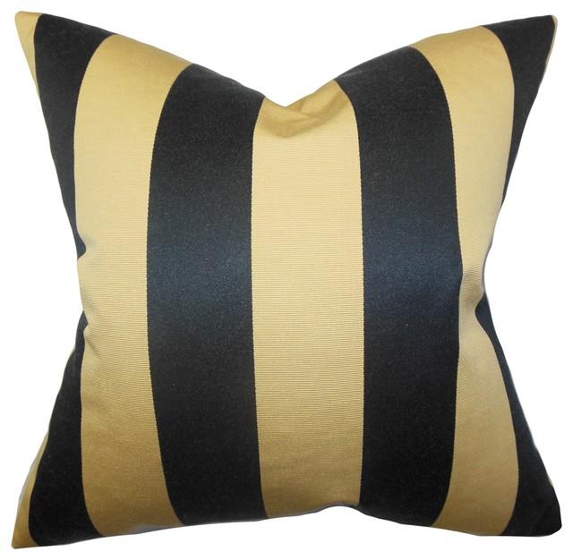 naoko stripes pillow gold black 18 x18 traditional. Black Bedroom Furniture Sets. Home Design Ideas