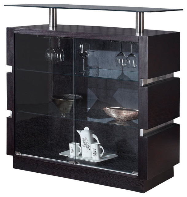 Global Furniture Usa G072 B Glass Top Bar Cabinet In Wedge Traditional Wine And Bar Cabinets