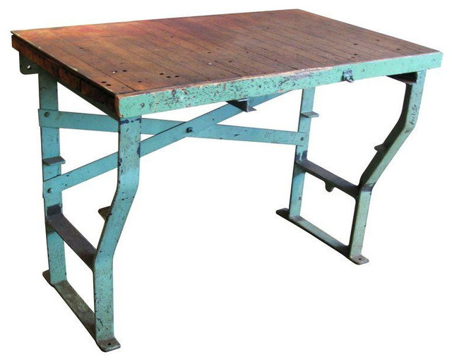 40s factory work table cast iron legs maple top rustic for Cast iron table ends