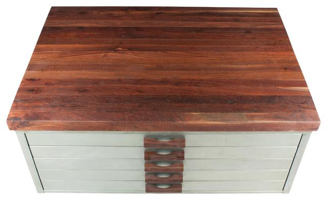 Walnut and Steel Draftign File Cabinet Coffee Table ...