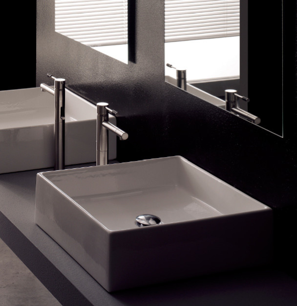Modern square white ceramic bathroom vessel sink modern for Bathroom designs vessel sinks