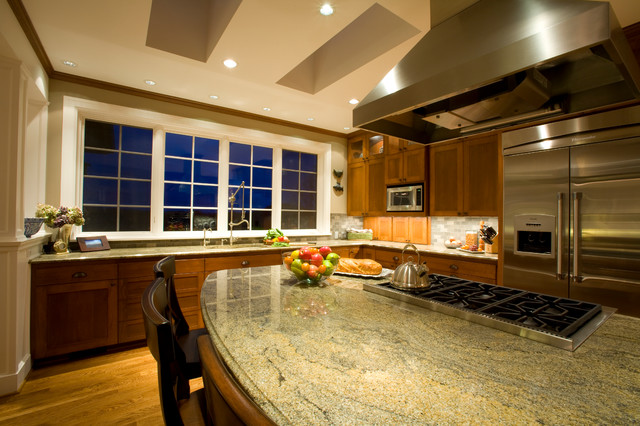 kitchen island with gas range traditional kitchen portland by