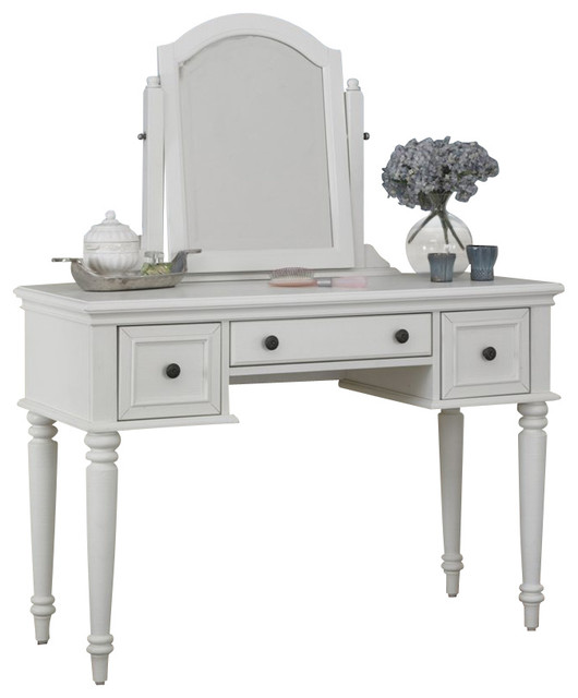 Home Styles Bermuda Vanity and Mirror in White Finish transitional-dressers-chests-and-bedroom-armoires