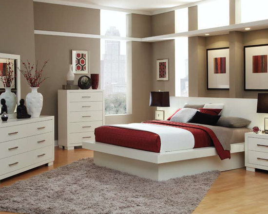 Bedrooms Furniture - Contemporary White Bedroom Set