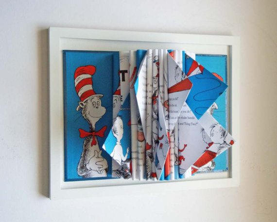Dr. Seuss Book Sculpture by Y Instead of I eclectic-kids-wall-decor