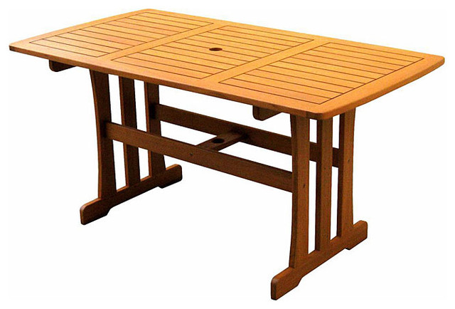Royal Tahiti Yellow Balau Wood Rectangular Dining Table Traditional Outdo
